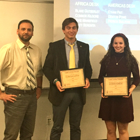 Joseph Fitsanakis (left) with Patrick Sullivan and Madison Nowlin, winners of the CIB Intelligence Essay Award