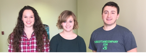 From left to right: Madison Nowlin, Casey Mallon and Connor Kilgore